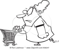 439247-Royalty-Free-RF-Clip-Art-Illustration-Of-A-Cartoon-Black-And-White-Outline-Design-Of-A-Grumpy-Woman-Grocery-Shopping